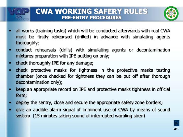 CWA WORKING SAFERY RULES