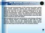 cwa working safety rules after finish the training works