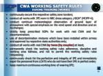 cwa working safety rules during training works