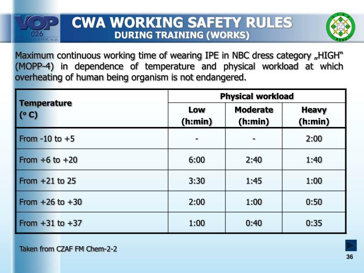 CWA WORKING SAFETY RULES