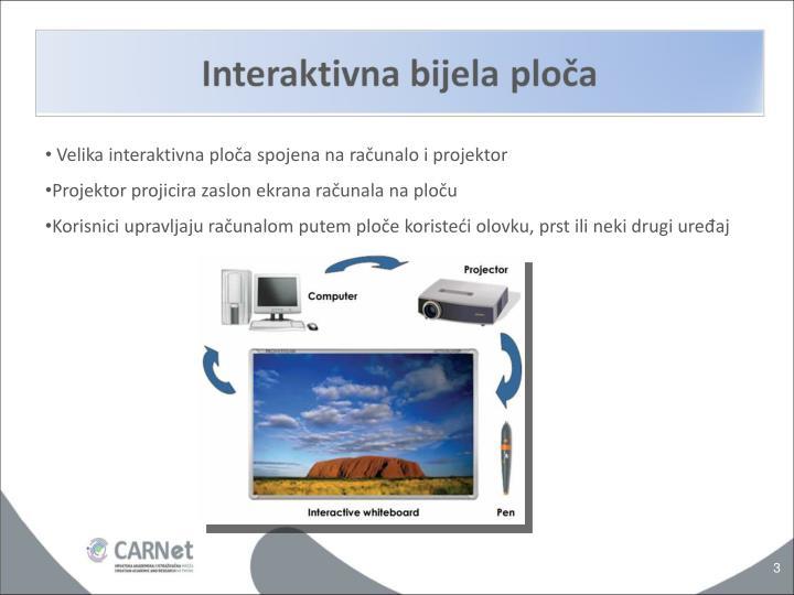 Velika interaktivna ploča spojena na računalo i projektor