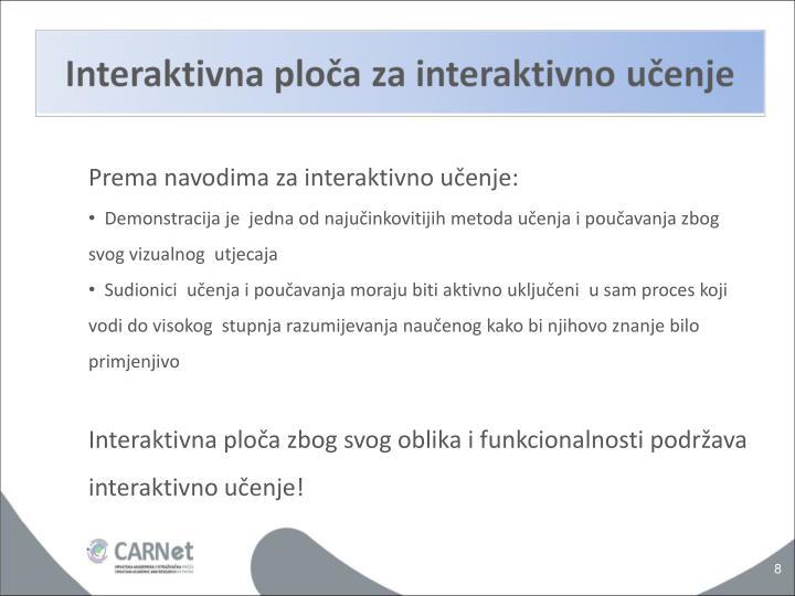 Prema navodima za interaktivno učenje: