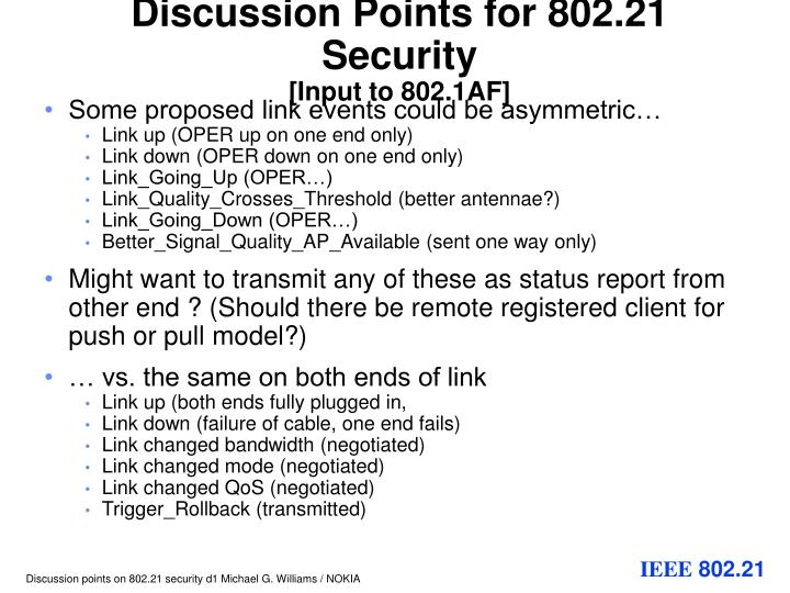 Discussion points for 802 21 security input to 802 1af1