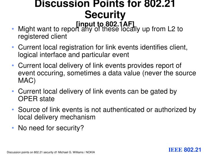 Discussion points for 802 21 security input to 802 1af2