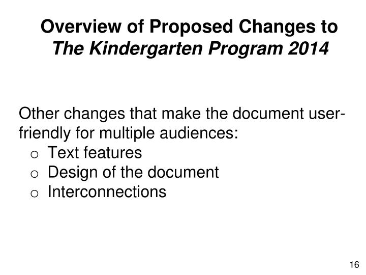 Overview of Proposed Changes to