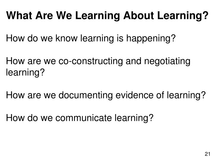 How do we know learning is happening?
