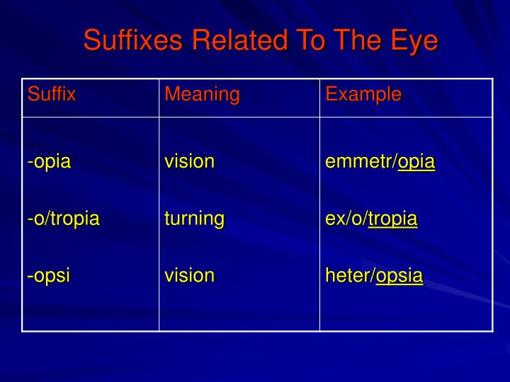 Suffixes Related To The Eye