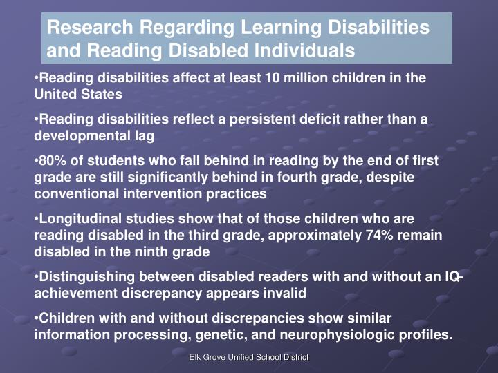 Research Regarding Learning Disabilities and Reading Disabled Individuals