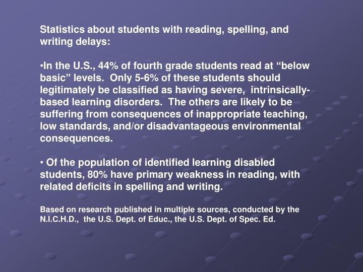 Statistics about students with reading, spelling, and writing delays: