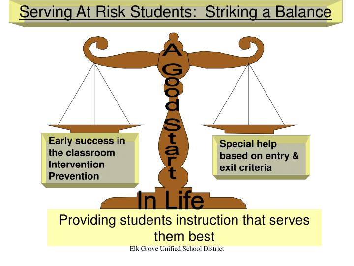 Serving At Risk Students:  Striking a Balance