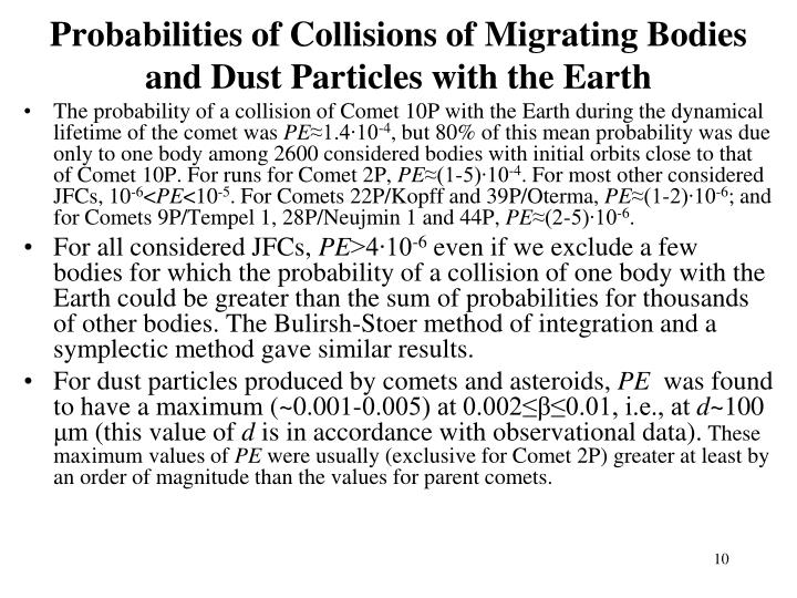 Probabilities of Collisions of Migrating Bodies and Dust Particles with the Earth