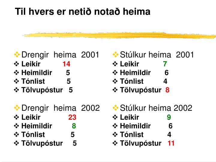 Drengir  heima  2001