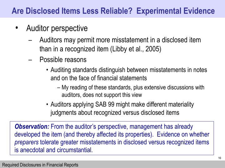 Are Disclosed Items Less Reliable?  Experimental Evidence