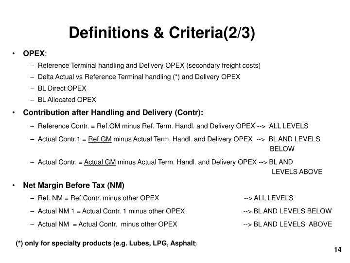 Definitions & Criteria(2/3)