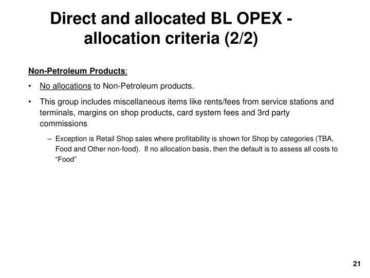 Direct and allocated BL OPEX - allocation criteria (2/2)