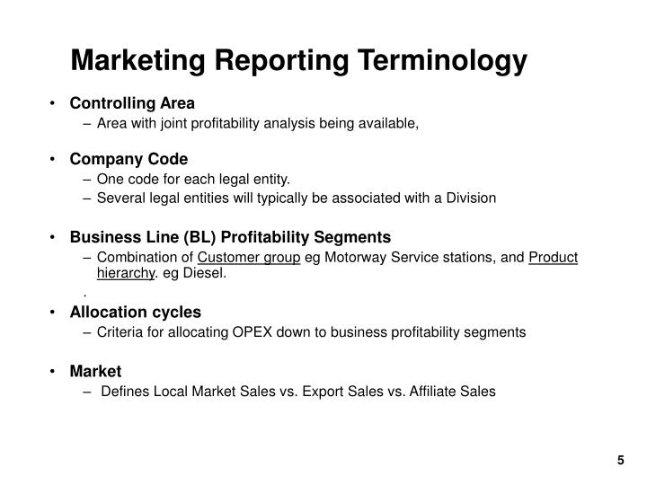 Marketing Reporting Terminology