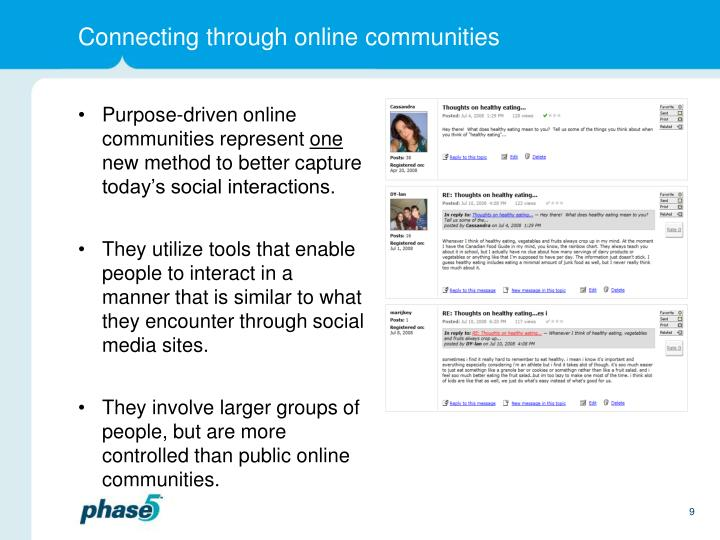 Connecting through online communities