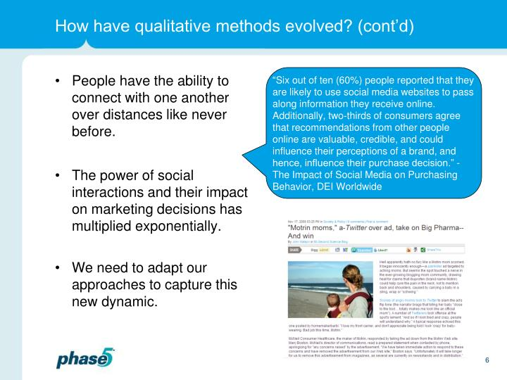 How have qualitative methods evolved? (cont'd)