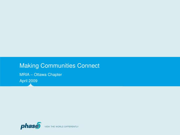 Making communities connect