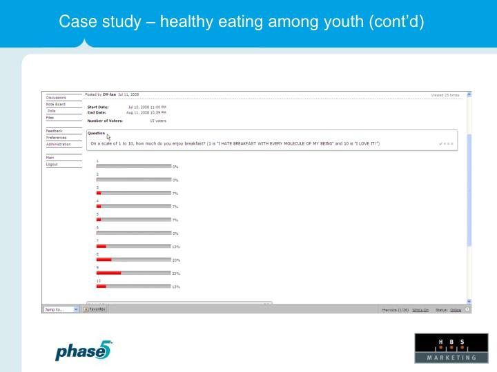 Case study – healthy eating among youth (cont'd)