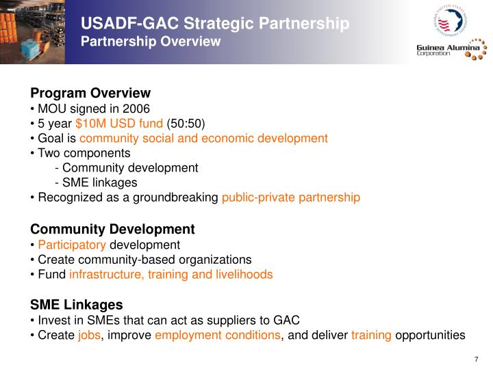 USADF-GAC Strategic Partnership