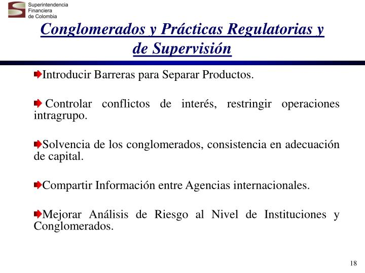Conglomerados y Prácticas Regulatorias y de Supervisión