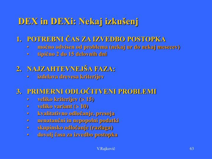 DEX in DEXi: Nekaj izkušenj