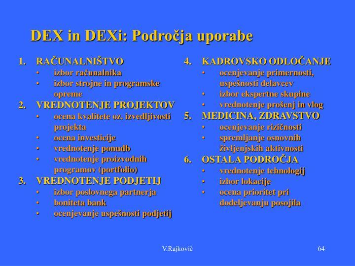 DEX in DEXi: Področja uporabe