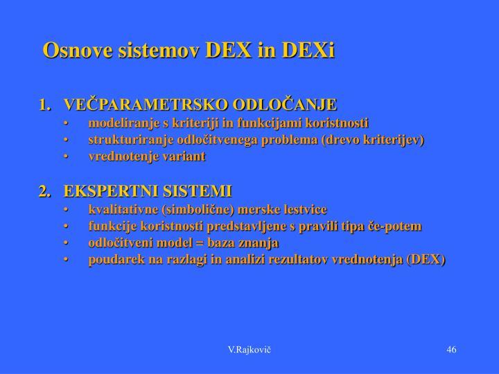 Osnove sistemov DEX in DEXi