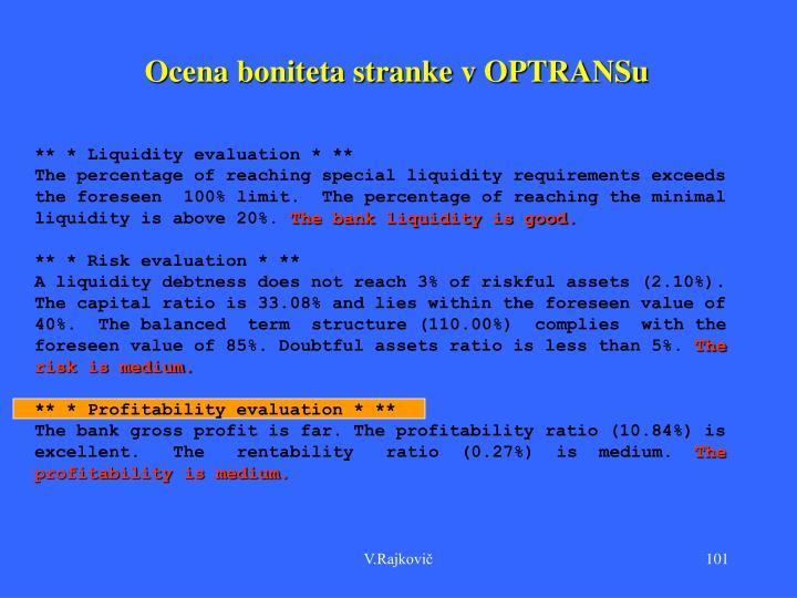 Ocena boniteta stranke v OPTRANSu