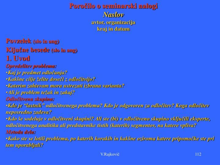 Poročilo o seminarski nalogi