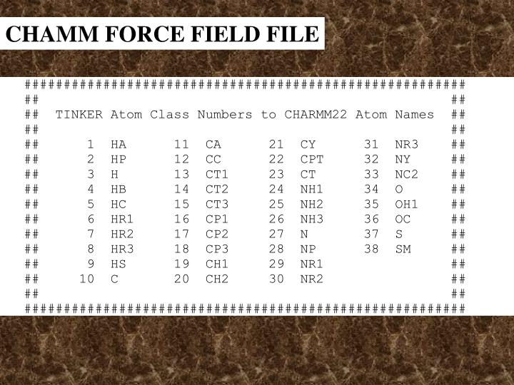 CHAMM FORCE FIELD FILE