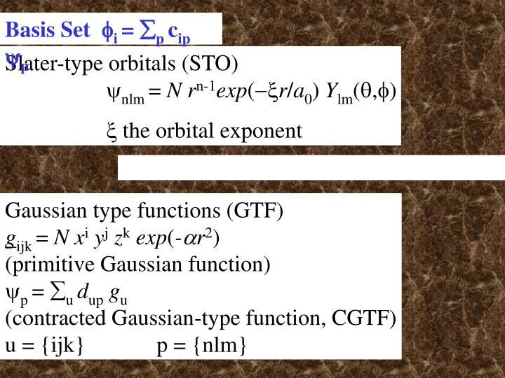 Slater-type orbitals (STO)