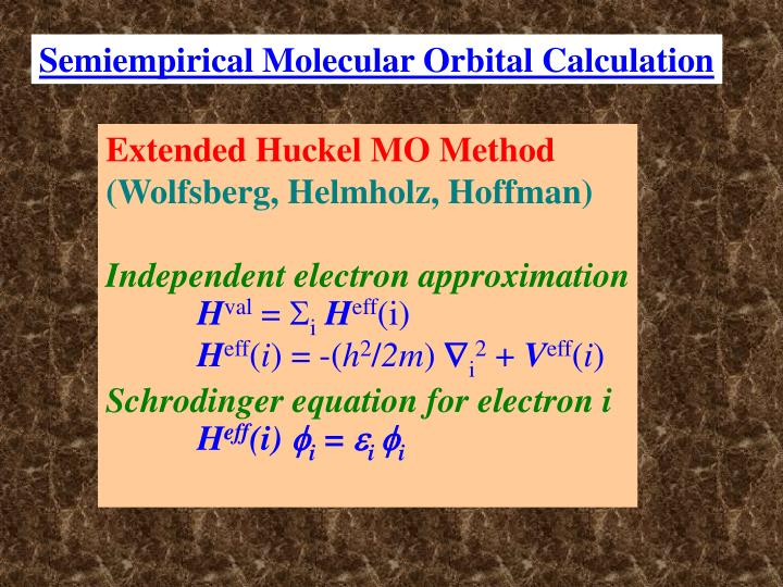 Extended Huckel MO Method