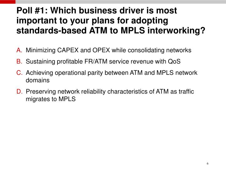 Poll #1: Which business driver is most important to your plans for adopting standards-based ATM to MPLS interworking?