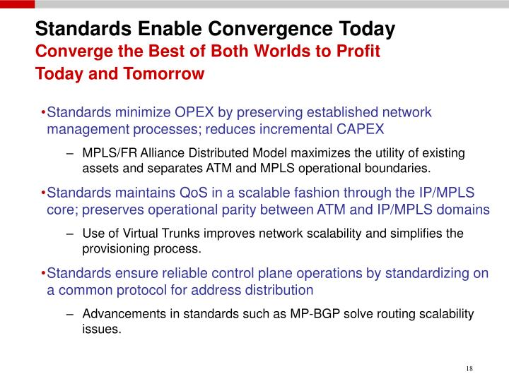 Standards Enable Convergence Today