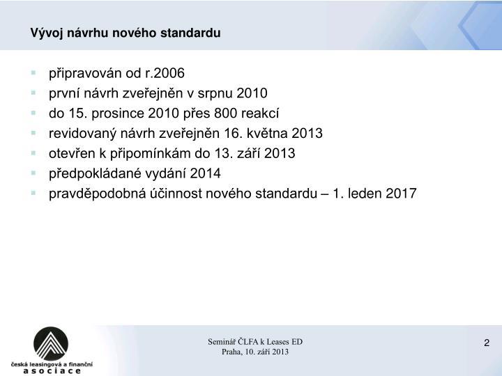 Vývoj návrhu nového standardu