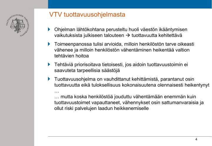 VTV tuottavuusohjelmasta