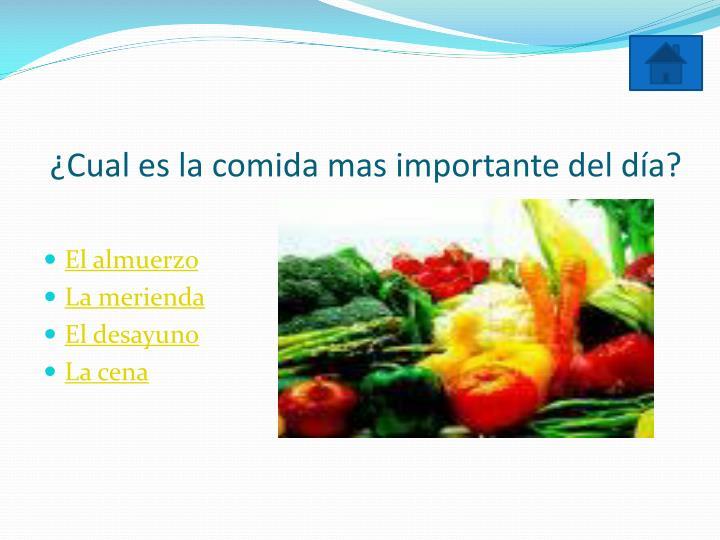 ¿Cual es la comida mas importante del día?