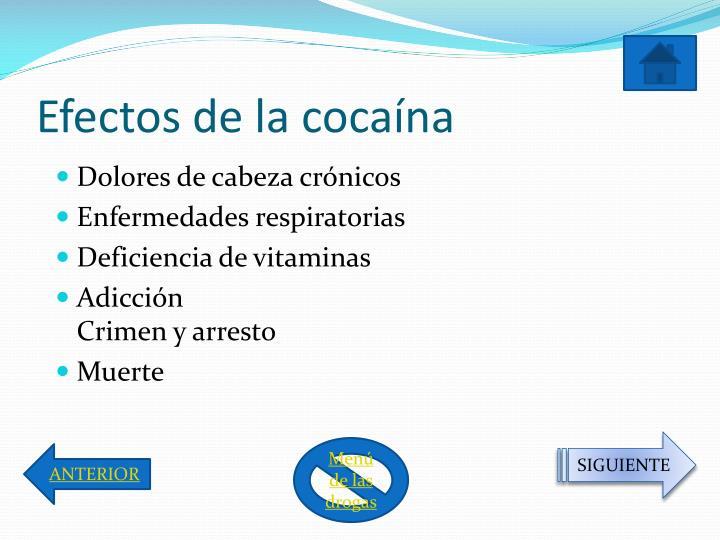 Efectos de la cocaína