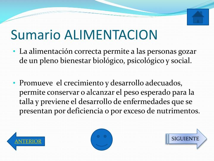 Sumario ALIMENTACION