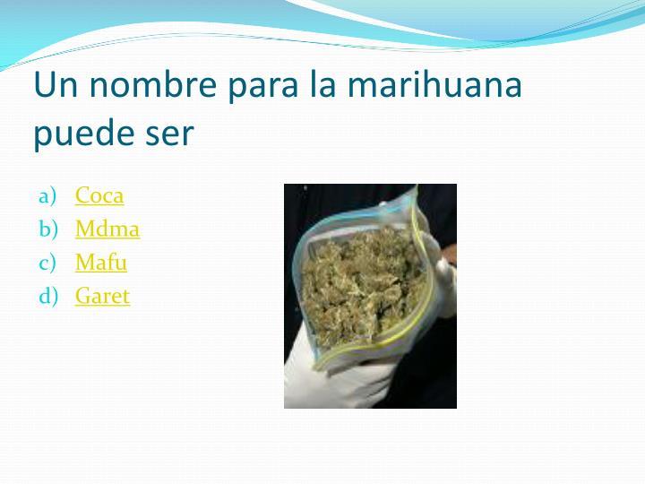 Un nombre para la marihuana puede ser
