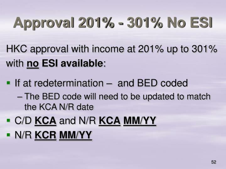 Approval 201% - 301% No ESI