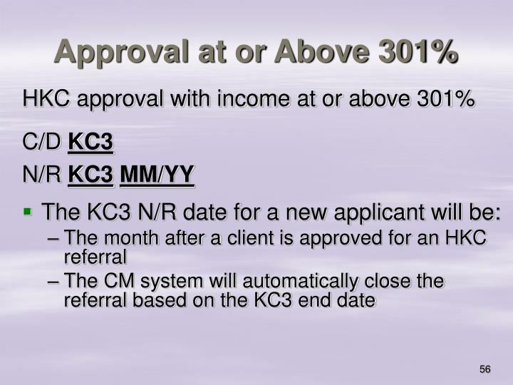 Approval at or Above 301%