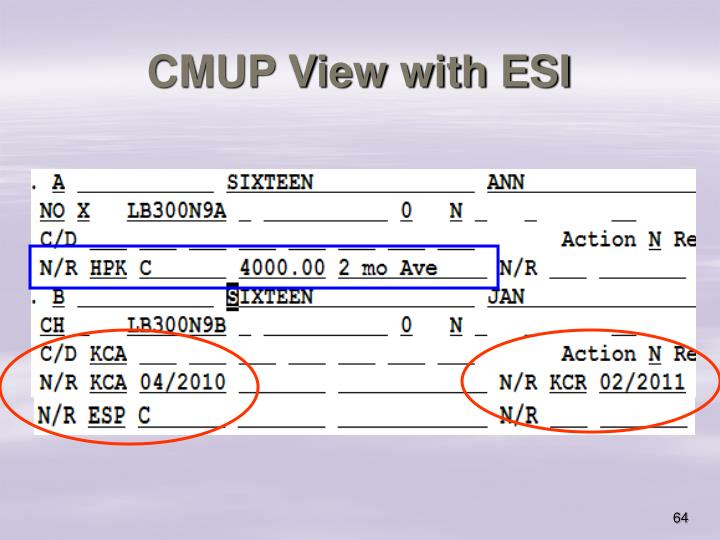 CMUP View with ESI