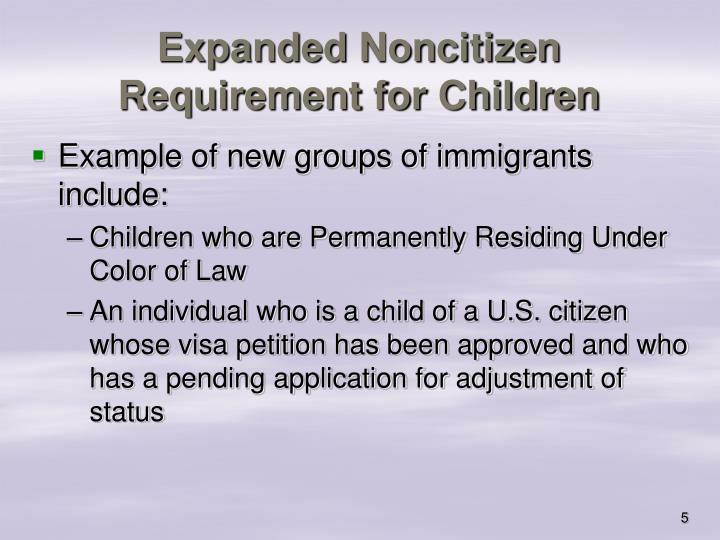 Expanded Noncitizen Requirement for Children