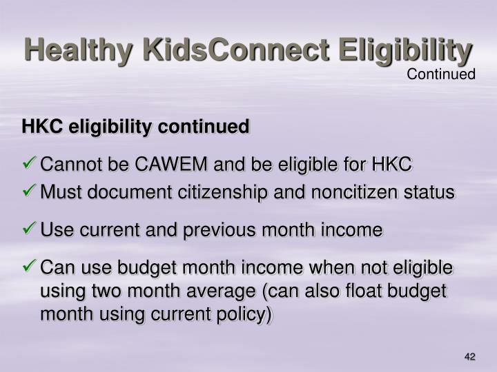 Healthy KidsConnect Eligibility