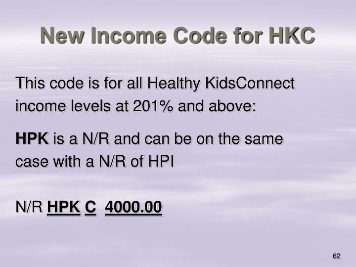 New Income Code for HKC