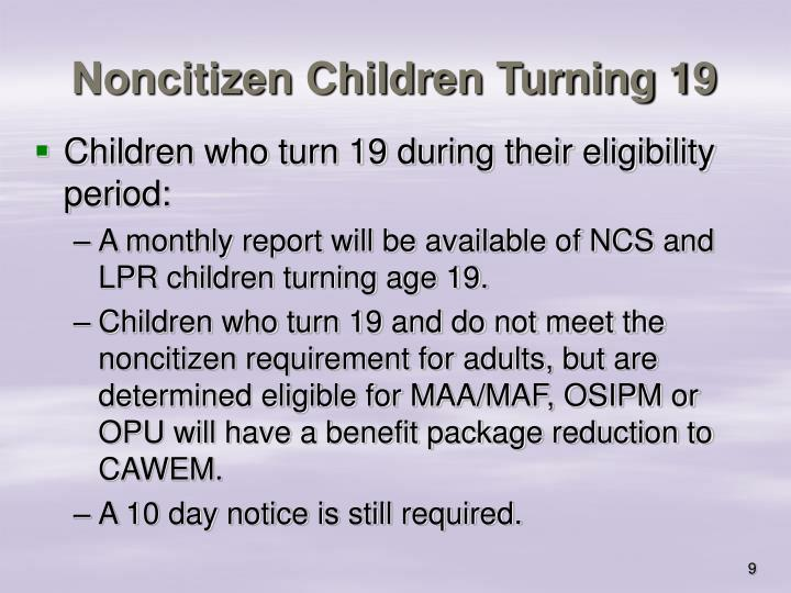 Noncitizen Children Turning 19