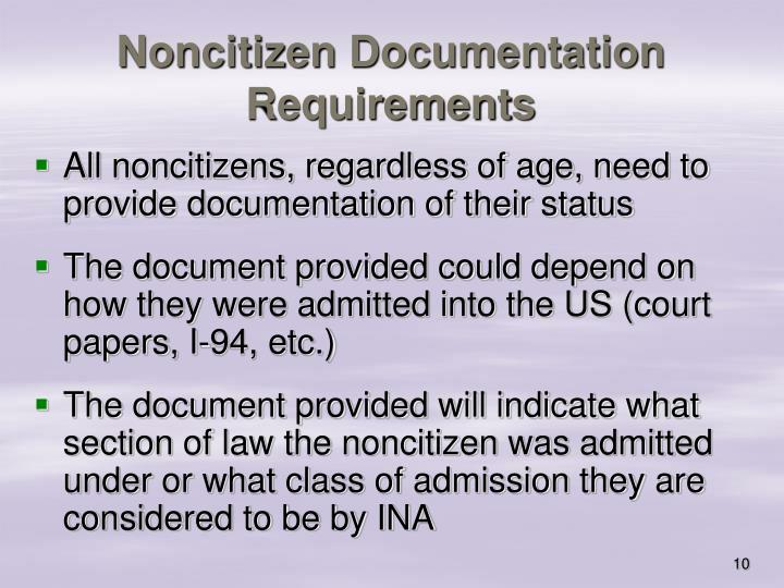 Noncitizen Documentation Requirements
